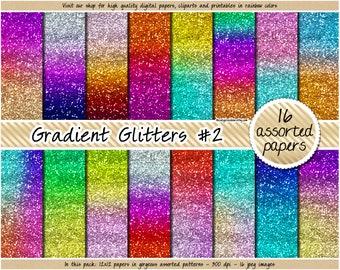 SALE Rainbow glitter digital paper ombre glitter digital paper gradient glitter paper metallic glitter texture pastel glitter bright glitter