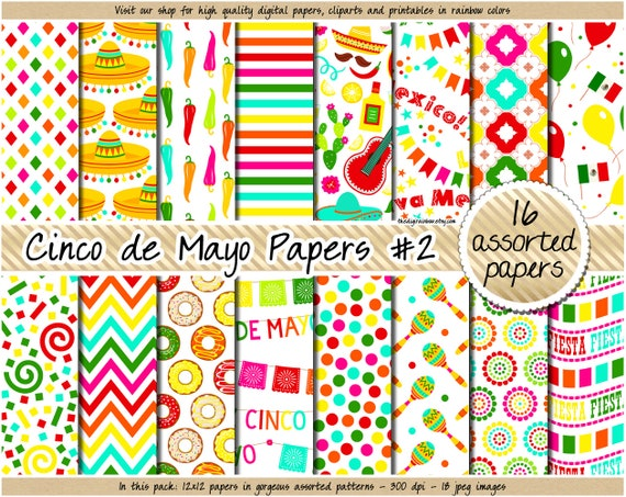 SALE Cinco De Mayo Digital Paper Clipart