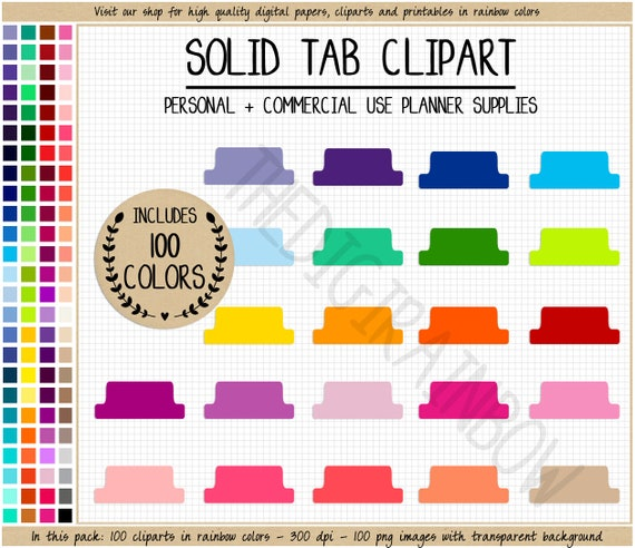 sale 100 tab clipart rainbow tab stickers printable planner etsy
