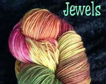 Hand dyed yarn, DK weight yarn, sock yarn,  Superwash merino wool, nylon,ready to ship