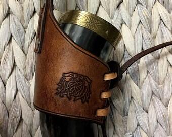 Celtic Wolf Drinking Horn Holder