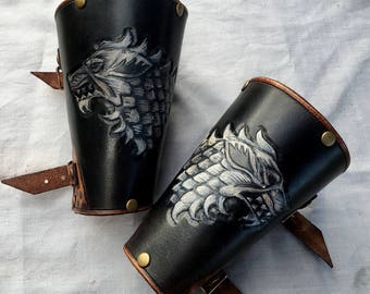 Game of Thrones House Stark Leather Bracers - Black, White and Whiskey Coloured