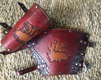 Game of Thrones House Lannister Leather Bracers - Red and Whiskey Coloured