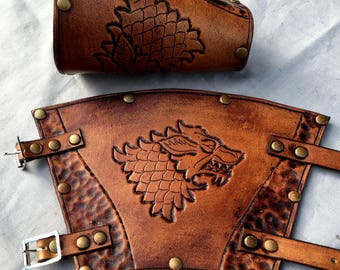 Game of Thrones House Stark Leather Bracers - Whiskey Coloured
