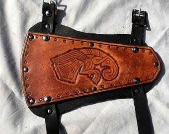 Vendel Eagle Leather Archery Bracer - Whiskey Coloured