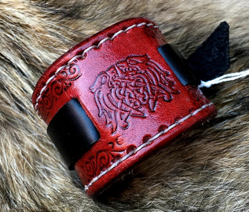 Deluxe Viking Wristband with Dragons Red