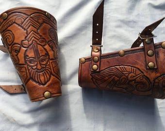 Vendel Eagle Warrior Viking Leather Bracers - Whiskey Coloured