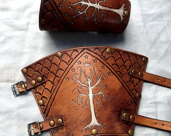 Lord of the Rings Gondor Leather Bracers - Whiskey and White Coloured