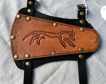Uffington Horse Leather Archery Bracer - Whiskey Coloured