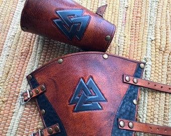 Odin Valknut Leather Bracers - Whisky and Black Coloured
