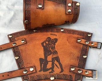 Hercules and Theseus Greek Hero Leather Bracers Mark II - Whiskey Coloured