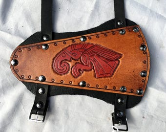 Vendel Eagle Leather Archery Bracer - Whiskey and Red Coloured