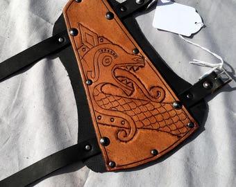 Goksted Dragon Leather Viking Archery Bracer - Whiskey Coloured