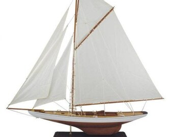 Decorative yacht, sailing ship, Ship model Sailingyacht-Wood-linen sail 121 cm