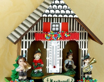 Orig. Black Forest-Weather house 12 cm-musicians-Germany Black Forest-weather