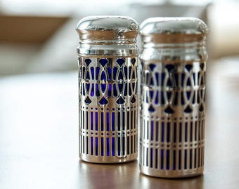 Scattered Pair- Salt- Peppercutter, Antique-Style Silverplated- 9x4