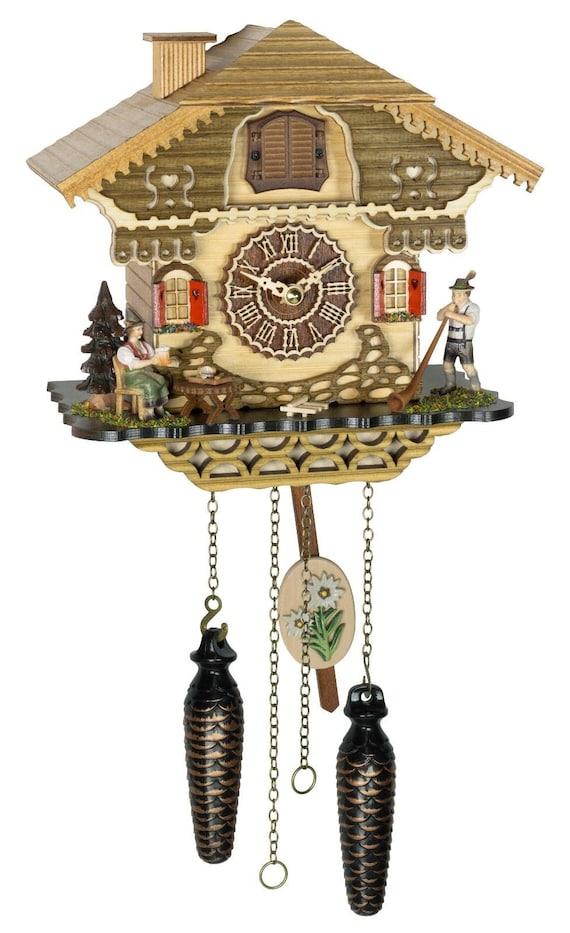 Black Forest Cuckoo clock Alphorn player-12 melodies-Cuckoo clock