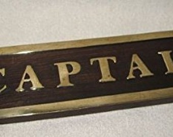 Door shield made of wood and brass - wood / brass plate door-style marine ship CAPTAIN