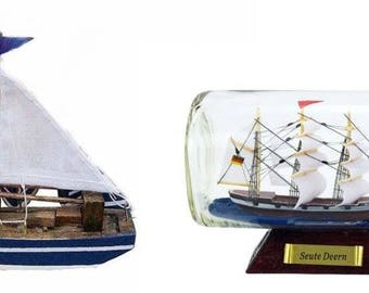 Small sailing boat wooden hull/fabric sail 10 cm + bottle ship Seute deern 16 cm