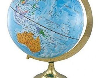 Noble Globe on Wooden stand h 35 cm-brass frame-light blue *