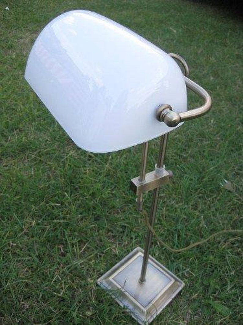 Desk  banker lamp burnished brass tarnish-protected frosted glass screen *