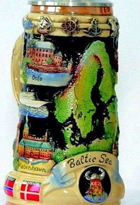 Relief Bierkrug Baltic Sea Panorama Viking Ship Lid German Beer Stein Feinsteinzeug Mit Deckel Aus Zinn 97 Limitiert