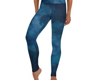 Blue Watercolor Yoga Leggings, Yoga Pants
