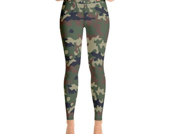 Camo Yoga Leggings, Camouflage Yoga Pants, Girls Legging