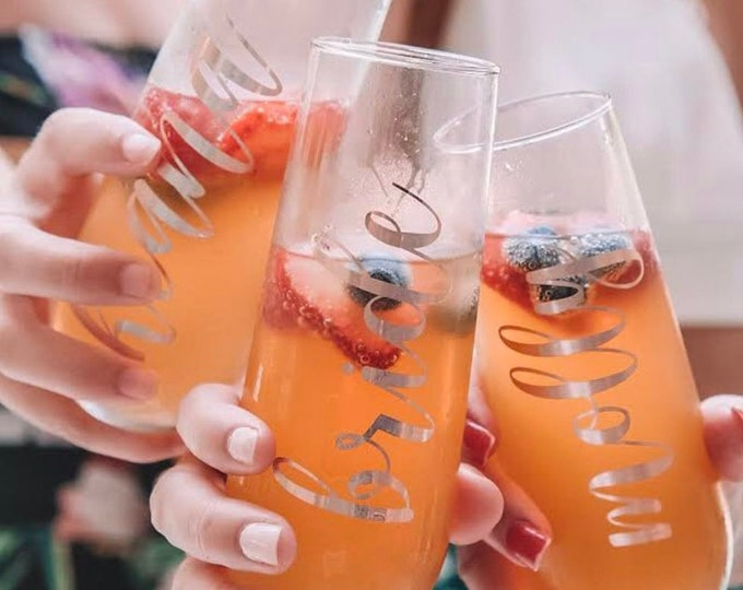 Rose Gold Champagne Flutes-Personalized Bridesmaids Champagne Flutes-Bridesmaid Champagne Glasses-Bridesmaid Proposal