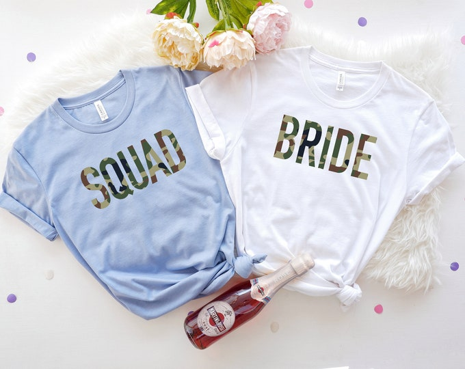 Camo Bachelorette Shirt, Bridesmaid Shirts, Bride Squad, Bachelorette Party Shirts