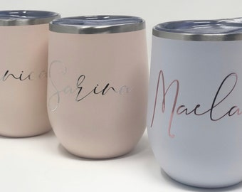 Bridal party tumbler - pink wine tumbler - bachelorette tumblers- personalized bridesmaid tumbler gift idea for bridesmaid proposal box