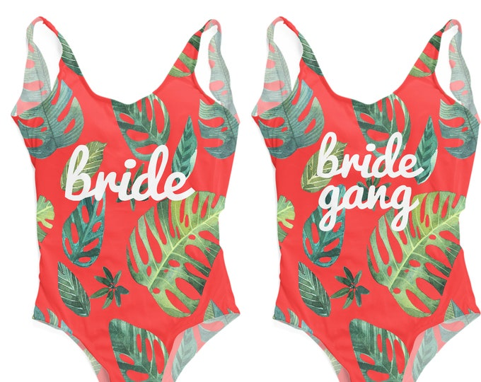 Bride Bathing Suit, Bride One-Piece Swimsuit, Tropical Swimsuit, Bride Gang, Girl Gang