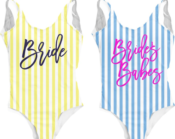 Bride Swimsuit, One Piece Swimsuit Bachelorette, Bridesmaid Bathing Suit, Bachelorette One Piece, Bridesmaid Swimsuit, Bachelorette Party