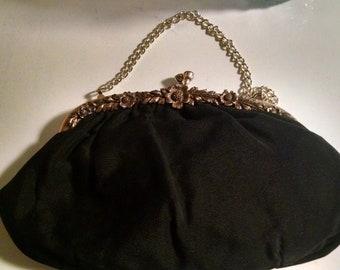 Vintage Hand Bag, Black Evening Bag, Clutch