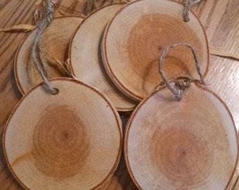 Natural Birch Wood Tags Birch Slices 20 Birch Wood Tags with String Birch Gift Tags Wood Rounds Birch Wood Slices Wooden Gift Tags