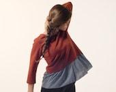 Long sleeve jersey blouse , women ruffled blouse , long sleeve Tshirt , cotton sweater , burnt orange jersey , winter clothing , outerwear