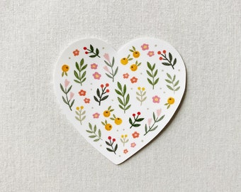 Floral Heart - Cute Flower Garden Illustration Sticker - Unique Gift, Laptop, MacBook, iPad, Phone Decal