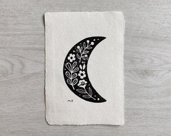 "Crescent Moon Linocut Art Print No. 3 - Original Hand Carved Block Print - Garden Illustration Wall Art 5x7"""