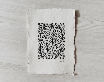 """The Garden - Linocut Art Print - Original Hand Carved Block Print - Garden Illustration Wall Art 5x7"""""""