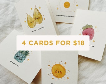 Buy More & Save, Cute Pun Card Set, Greeting Card Bundle, Punny Card, Couples Card, Punny Card, Food Puns, Watercolor Illustation