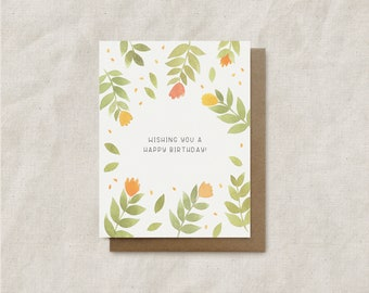 Wishing You A Happy Birthday! - Watercolor Floral Illustration Greeting Card with Envelope - Blank 4.25 x 5.5