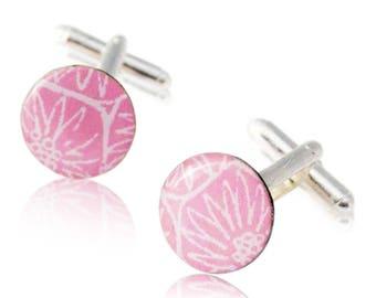 Pink cufflinks, gift for boyfriend, silver plated cufflinks, paper gift, round cufflinks, gift for him, wedding gift,