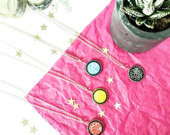Circle geometric necklace, Pendant necklace, Modern pendant, Bright necklace, Black pendant, Yellow necklace, Lightweight necklace