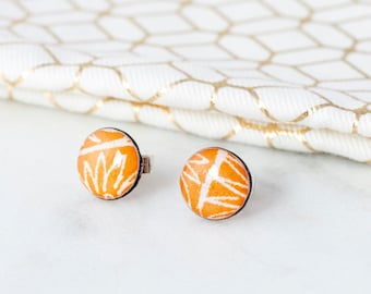 Sterling silver orange stud earrings,  letterbox gift or first anniversary gift