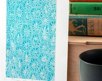 Unframed blue wall art, hand-pulled screen print