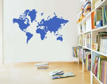 "World Map Silhouette Vinyl Wall Sticker Decal 22""h x 31""w"