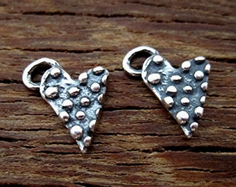 Small Dotted Artisan Heart Charm in Sterling Silver (set of 2) (C) (N)