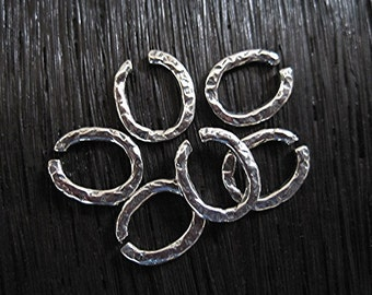 Rustic, Textured, Artisan, Sterling Silver Open Jump Ring (set of 6)