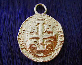 Gold Bronze Spanish Coin Replica Charm and Pendant (one) (N)