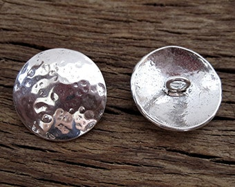 Hammered Sterling Silver Button Clasp for Wrap Bracelet (one button) (C) (A)